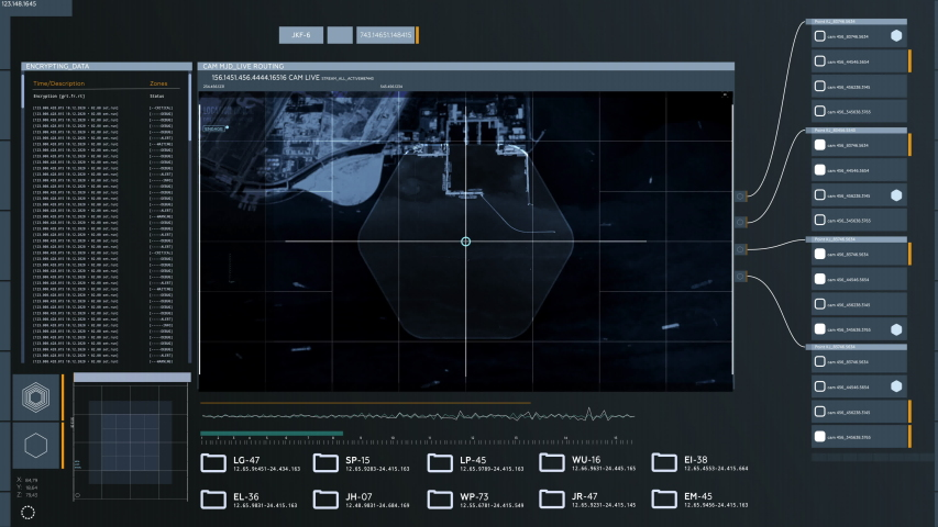 Computer Screen Interface With a USA Aircraft Carrier, Satellite Camera Grid