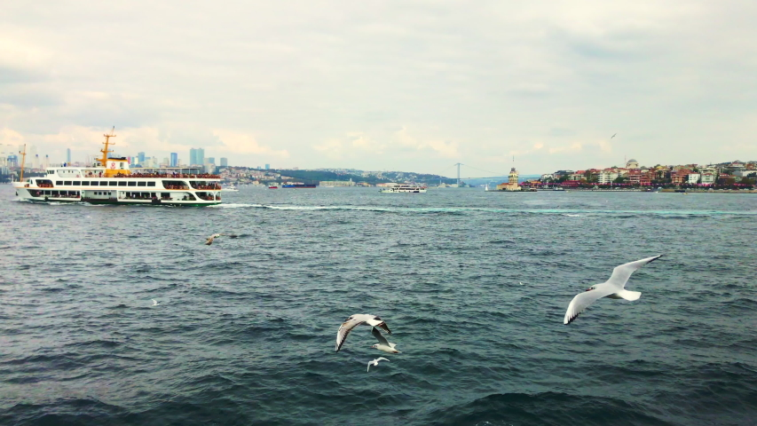 Istanbul views of ships going to sea gulls Birds wonderful panoramic view of Istanbul symbols tourism travel trip vacation in Istanbul Turkey buy 4K video. Royalty-Free Stock Footage #1043690845