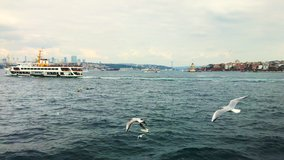 Istanbul views of ships going to sea gulls Birds wonderful panoramic view of Istanbul symbols tourism travel trip vacation in Istanbul Turkey buy 4K video.