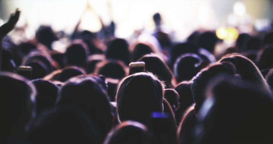 Crowd of people cheerful silhouette light stage | Shutterstock HD Video #1043717455