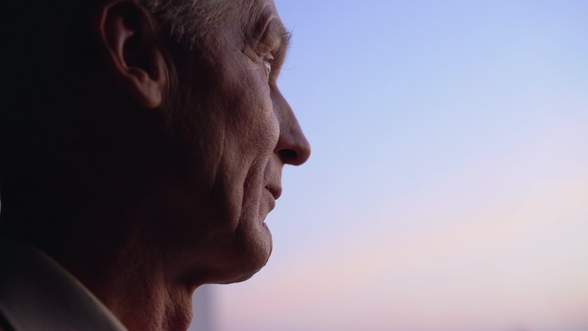 Lonely old man looking into distance, waiting for relatives at retirement home Royalty-Free Stock Footage #1043740360