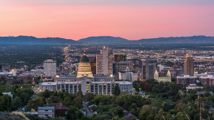 Salt Lake City, Utah, USA downtown city skyline at dawn.