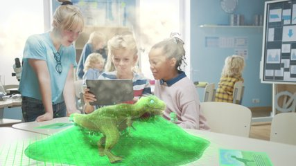 Three Diverse School Children Use Digital Tablet Computer with Augmented Reality Software, Looking at Educational 3D Animation - Dinosaur Walking on Island with Active Volcano. Special Effects FVX
