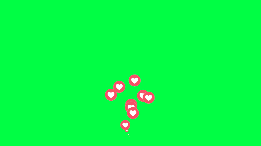 4K Social media Live style animated heart on green screen. 60 FPS