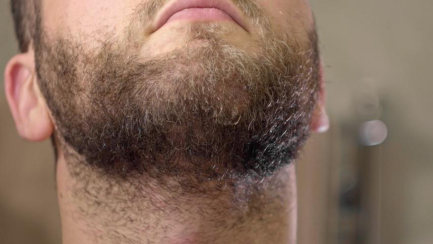 Beard dry shaving using electric trimmer machine. Adult man beard shaving close up. Front view | Shutterstock HD Video #1043904679