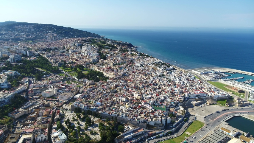 Drone shot of the Tangier. a Moroccan port on the Strait of Gibraltar