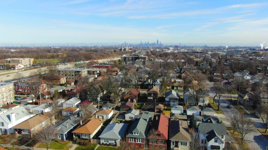 Oak Park, Illinois/United States - December 17, 2019: This is an aerial shot single family homes in an Oak Park neighborhood. Oak Park is a village adjacent to the West Side of Chicago, Illinois.