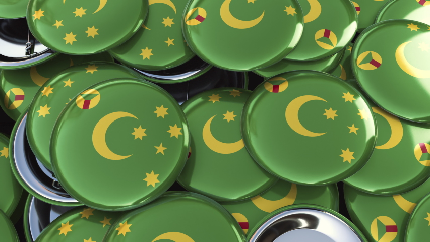 Looping 4K 3D animation panning over country flag badges pins buttons: Cocos Island