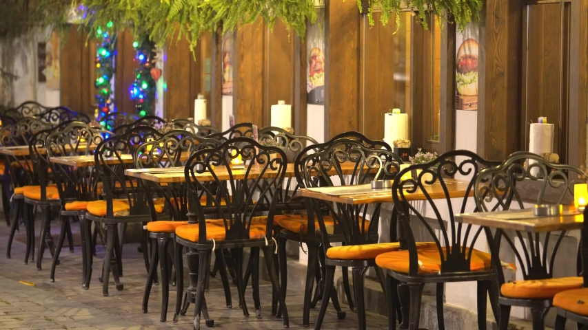 Beautiful de Cafe Or Restaurant In City. | Shutterstock HD Video #1044076276