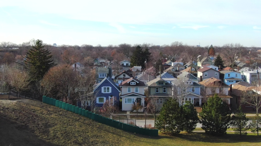 Oak Park, Illinois/United States - December 17, 2019: This is an aerial shot single family homes in an Oak Park neighborhood. Oak Park is a village adjacent to the West Side of Chicago, Illinois.  Oak