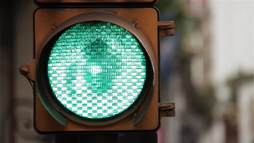 A Green Traffic Light in the City of Buenos Aires, Argentina. Close-Up.