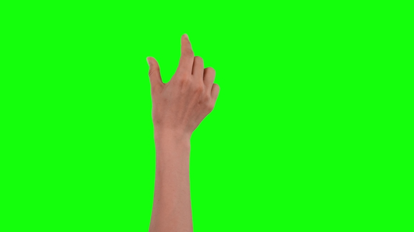 Woman hand touchscreen gestures on chroma key green screen background, like using a smart phone or tablet pc