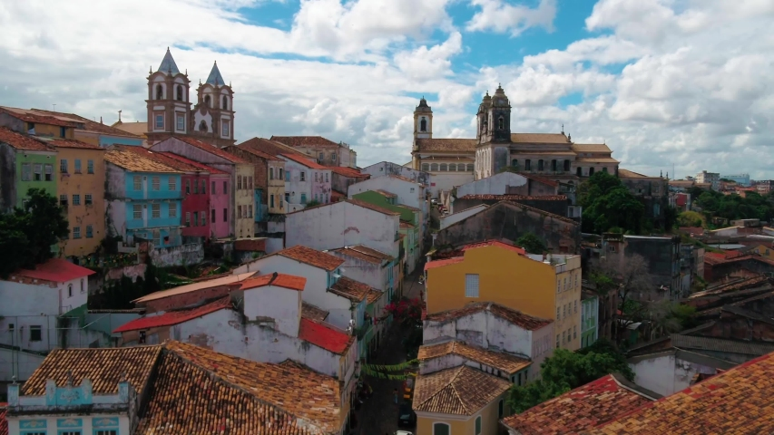 Aerial view of Pelourinho, Ancient mansions, ruins, historical center of Bahia, Brazil, Carnival place in Salvador city, Bahia, Brazil. Royalty-Free Stock Footage #1044155746