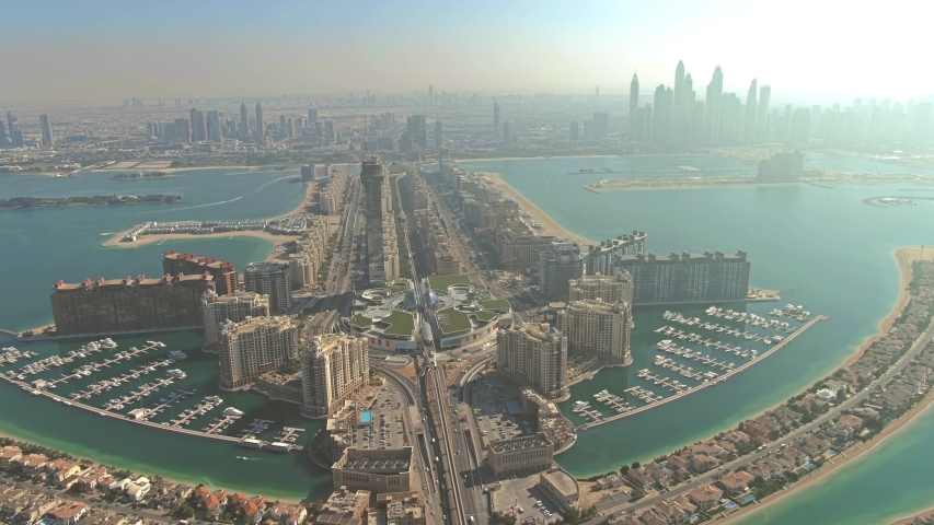 Aerial view to city from the Palm Jumeirah island in Dubai, UAE