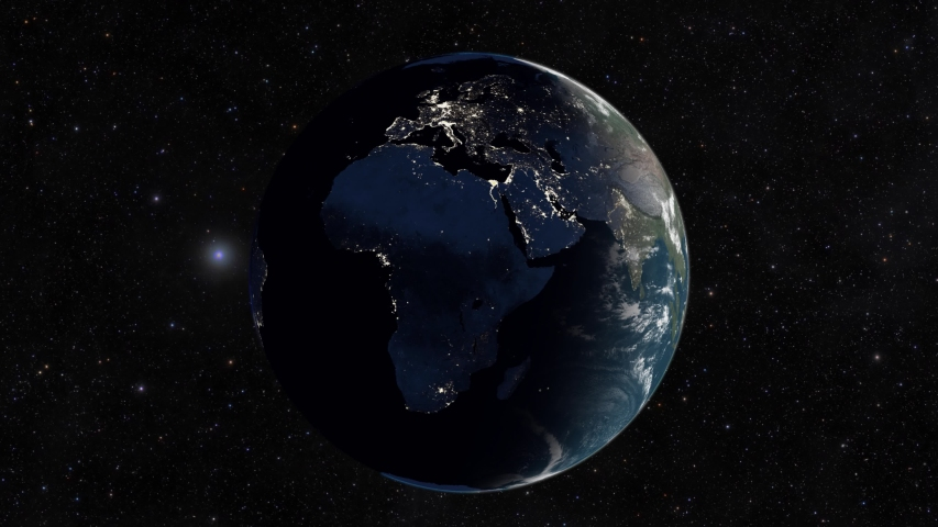 Realistic view of planet earth from space. Dawn in europe. From night to day | Shutterstock HD Video #1044165265