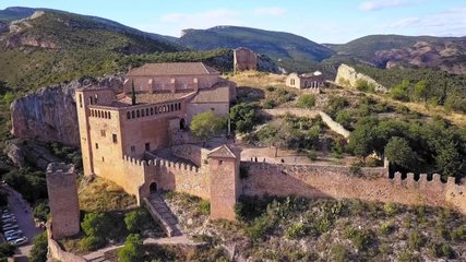 Catalonia/Spain Aerial video of Castle of Cardona , Fortress in Spain            taken by drone camera