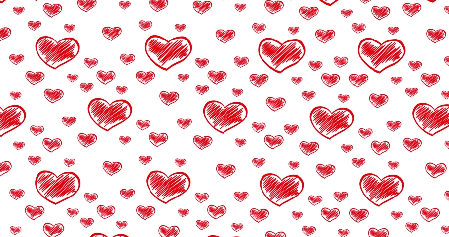Romantic hand drawn pattern with doodle red hearts. For St. Valentines Day, Mother's Day, wedding anniversary. Wedding invitation e-card. 3D rendering animation. Seamless loop 4k video. | Shutterstock HD Video #1044178582
