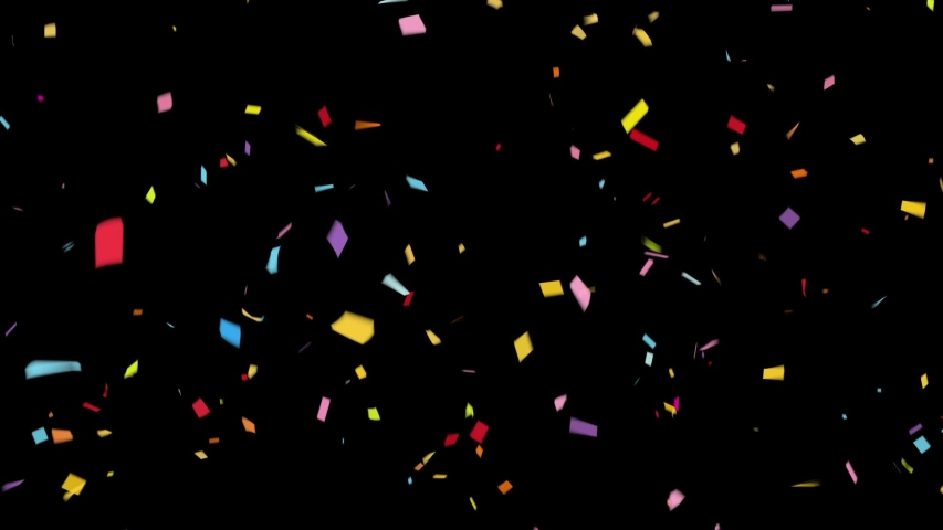 Multicolored Confetti Falling. Wedding, Birthday, Celebration, Carnival,  Party or Holiday / with Full HD Alpha Matte Channel