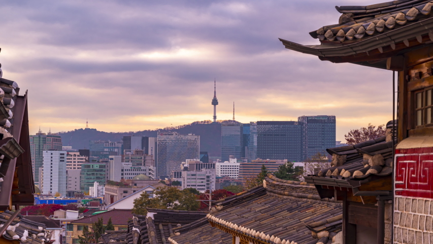 Timelapse at Seoul City,Bukchon Hanok Village, Seoul, South Korea, 4K Time lapse | Shutterstock HD Video #1044194899