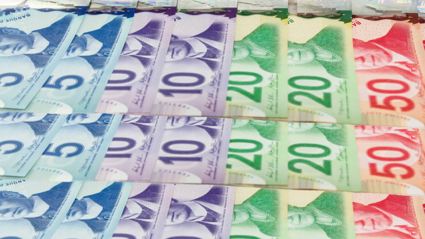 TORONTO CANADA - Jan 7 2020: Canadian 50, 20, 10 and 5 dollar bills or banknotes