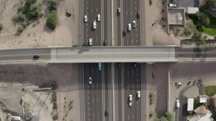 Aerial Drone View of Highway I-10 in Phoenix Tempe Chandler Arizona on a sunny day showing highway and surrounding areas