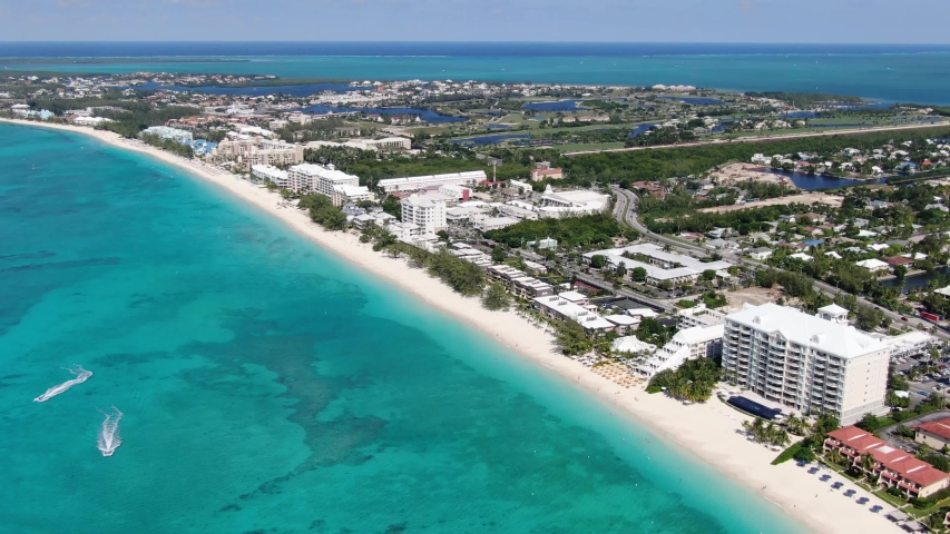 Aerial footage of famous Seven Mile Beach, Grand Cayman, Cayman Islands
