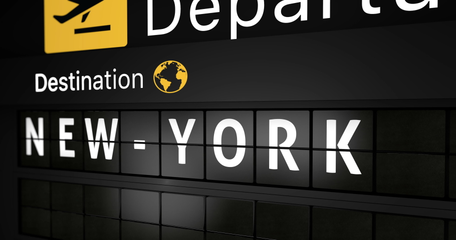 3D generated animation, analog flight information display board with the arrival city of New York, 4 different animations   Shutterstock HD Video #1044221635