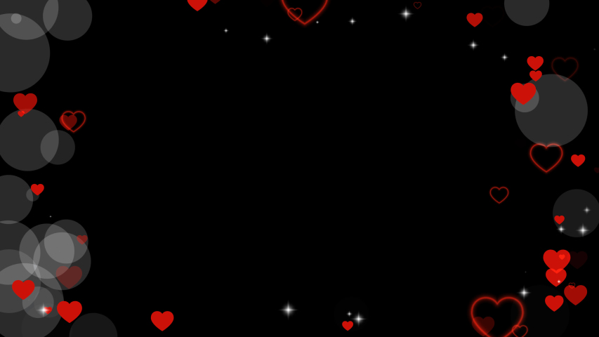 Valentine's day animated frame of hearts for overlay on video. Greeting love frame of hearts. Festive border decoration of bokeh, sparkles, hearts for valentine's day. Alpha channel, seamless loop