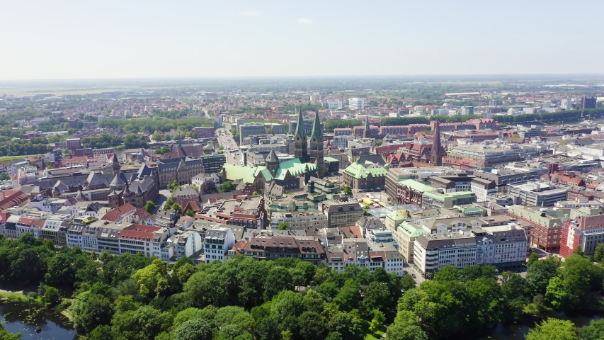 Bremen, Germany. The historic part of Bremen, the old town. Bremen Cathedral ( St. Petri Dom Bremen ). View in flight, Aerial View, Point of interest | Shutterstock HD Video #1044254419