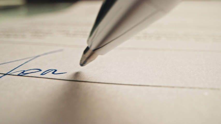 "Person Signing Important Document. Camera Following Tip of the Pen as it Signs Crucial Business Contract. Mock-up ""Lorem Ipsum"" Signature Made on the Template Document. Macro Close-up Shot"