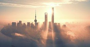 Aerial hyperlapse video of Shanghai at sunrise