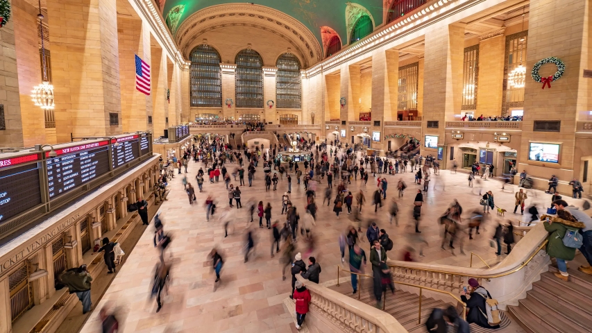 New York, New York, USA - December 29 2019: Time lapse video from Grand Central Station in New York with people passenger in the main hall