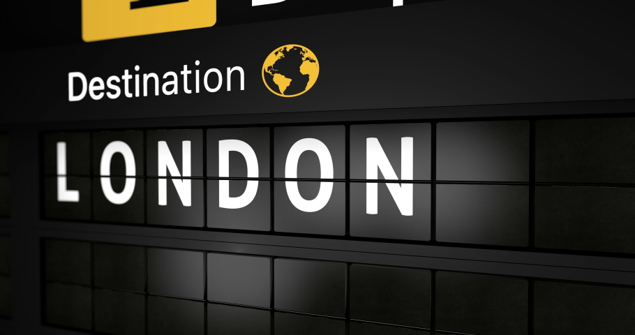 3D generated animation, analog flight information display board with the arrival city of London, 4 different animations   Shutterstock HD Video #1044271819