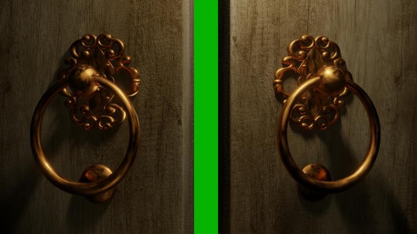 Filmic 3D green screen transition - A ring brass door knocker knocks 3 times. The doors open and reveal the green screen.   Shutterstock HD Video #1044300850