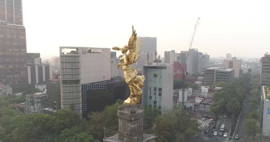 Aerial Drone view angel in Mexico City reforma Avenue