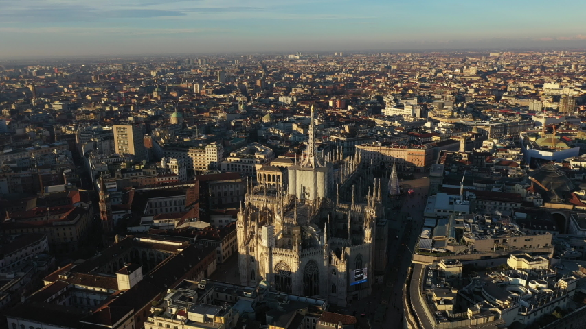 Milan Cityscape and Duomo - Aerial View | Shutterstock HD Video #1044305362