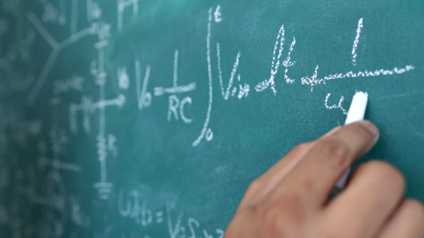 The engineer is calculating the result of the equation to design the electronic circuit, Men writing and sophisticated mathematical formula on chalkboard. Royalty-Free Stock Footage #1044319774