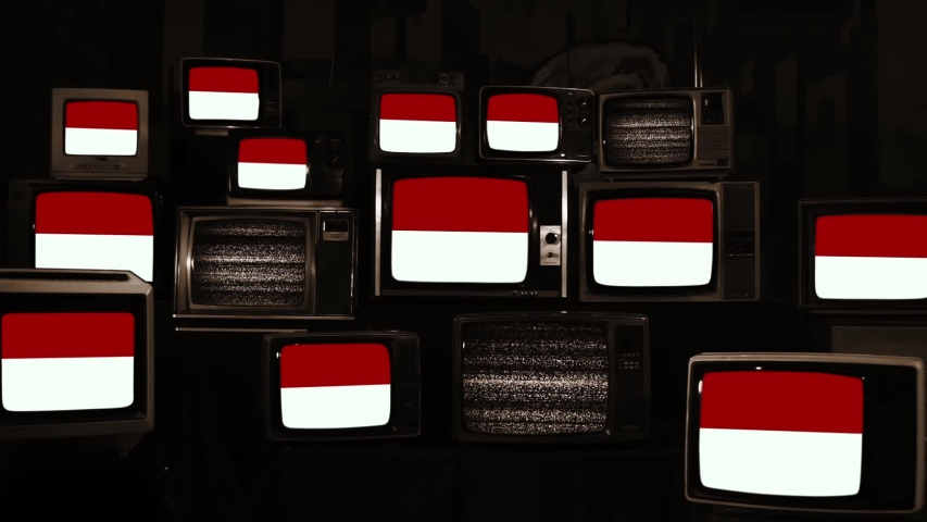 Indonesia Flags on Vintage Televisions. Sepia Tone. Zoom In.  | Shutterstock HD Video #1044341140