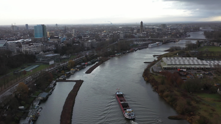 Aerial of European City of Arnhem in the Netherlands. Dutch culture and economic hub and home to a major second world war battle
