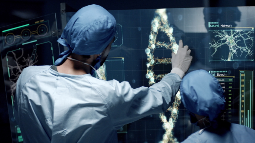 Professional Doctors Analyzing DNA Structure, genes and genetic disorders, science. DNA Strand molecule close up animation with infographics on futuristic transparent screen. Royalty-Free Stock Footage #1044355195