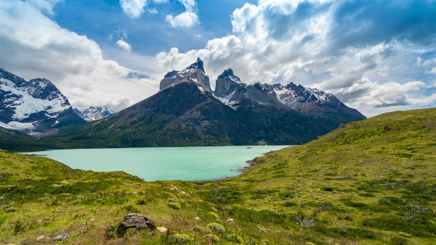 Time lapse view of iconic Cuernos del Paine mountains in Torres del Paine National Park, Chile, Patagonia, South America.  | Shutterstock HD Video #1044383722