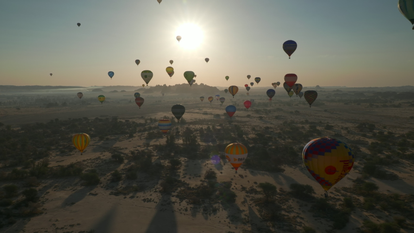 Winter at Tantora Festival, January 3, 2020. Hot Air Balloons fly over Mada'in Saleh (Hegra) ancient archeological site near Al Ula, Saudi Arabia