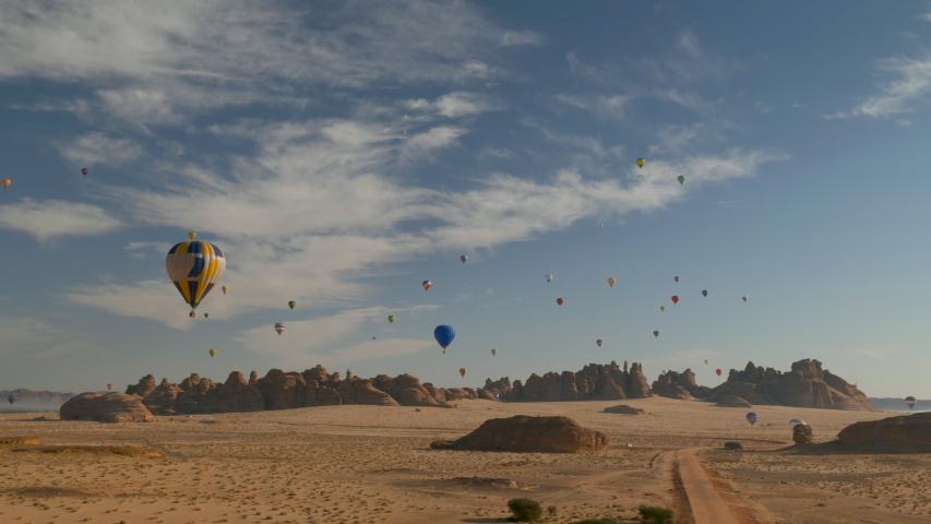 Winter at Tantora Hot Air Balloon Festival over Mada'in Saleh (Hegra) ancient archeological site near Al Ula, Saudi Arabia