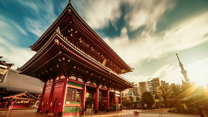 Hope concept-8K sunrise timelapse of Asakusa temple from night to day, Tokyo, Japan