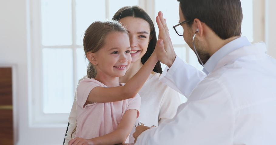 Male pediatrician hold stethoscope exam cute little child girl patient visit doctor with mom, paediatrician listen kid heartbeat do pediatric checkup in hospital, children medical health care concept