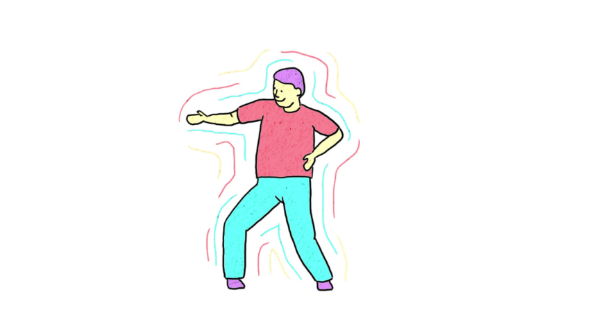 Positive happy man dances fun as a winner. Pop art multicolored bright animation with alpha channel. | Shutterstock HD Video #1044479653