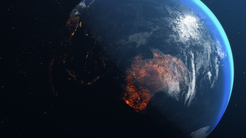 Earth globe with map of australia all burnt and on fire | Shutterstock HD Video #1044493501