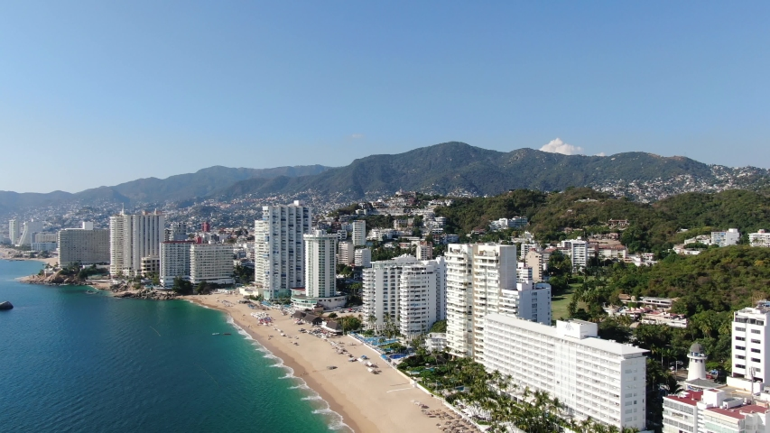 Aerial View of Acapulco Beach in Guerrero, México on January of 2020
