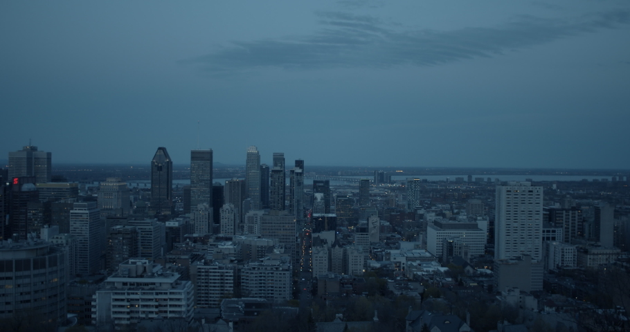 View from Mount Royal in Montreal Quebec Canada of the downtown core at dusk