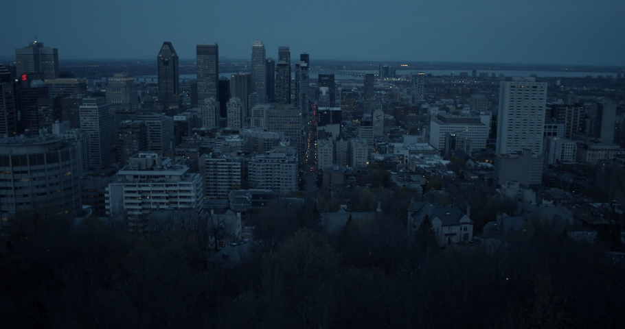 Buildings and city as seen from Mount Royal in Montreal Quebec Canada downtown core